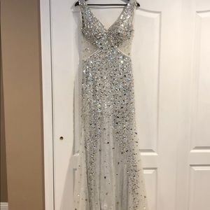 Mac Duggal large stone beaded gown